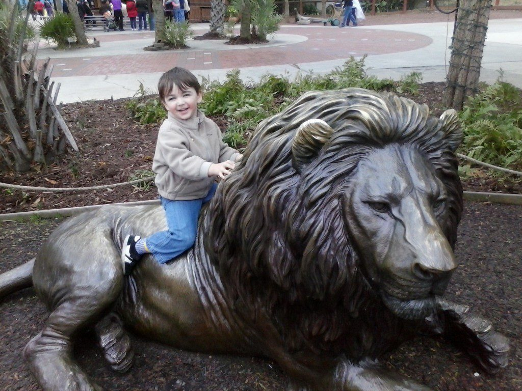 Will gets to know the lions -- the bronze ones -- at the Riverbanks Zoo.