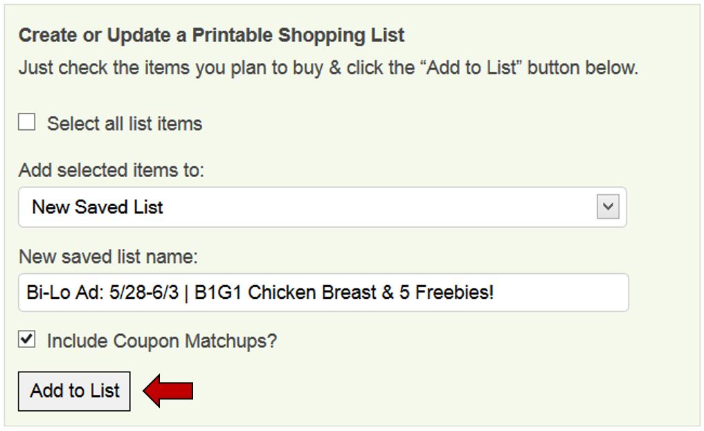 coupon list
