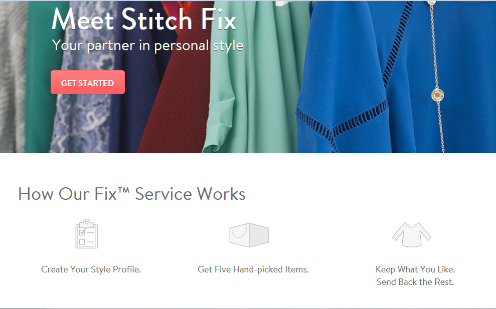 The homepage of the Stitch Fix website -- it's easy to sign up and pick out clothes that match your style.