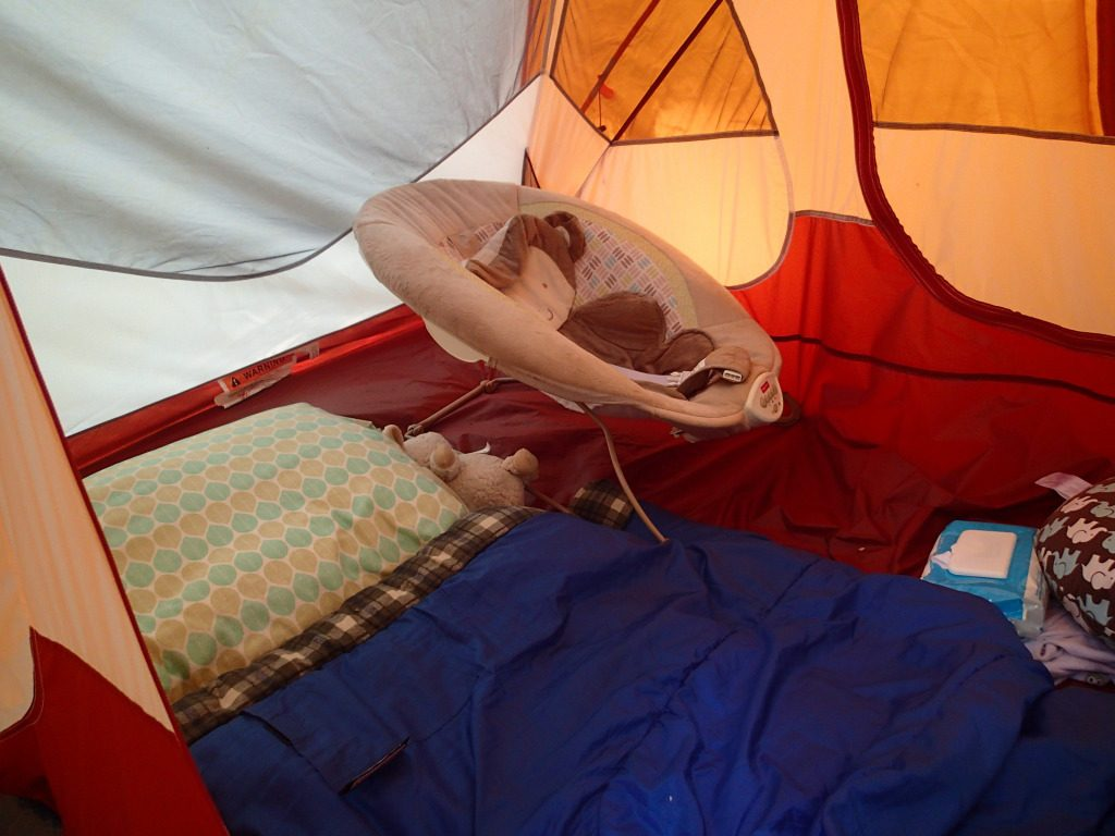 How I set up our tent. Baby in the bouncer, mommy on the sleeping bag. Not pictured is the boppy and our bags.