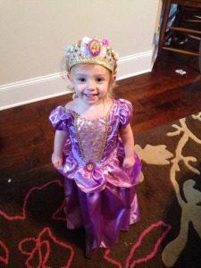 My daughter, Lucie, dressed as Princess Rapunzel