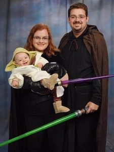When Lucie was 9 months old, she was Yoda, Jonathan was Luke Skywalker, and I was Mara Jade Skywalker.  Jonathan talked about getting a baby carrier to wear Yoda on his back, but we never got around to purchasing one.