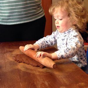 Our two year olds loved rolling the dough!