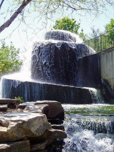 A spiral fountain is the centerpiece of downtown's Finlay Park.