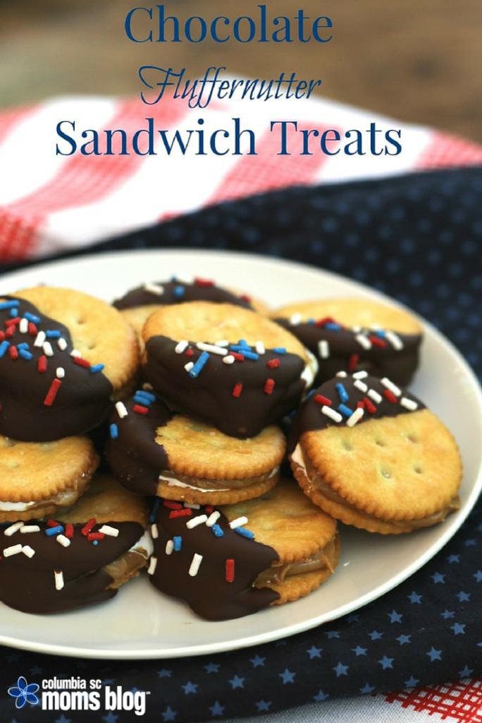 chocolate fluffernutter sandwich treats