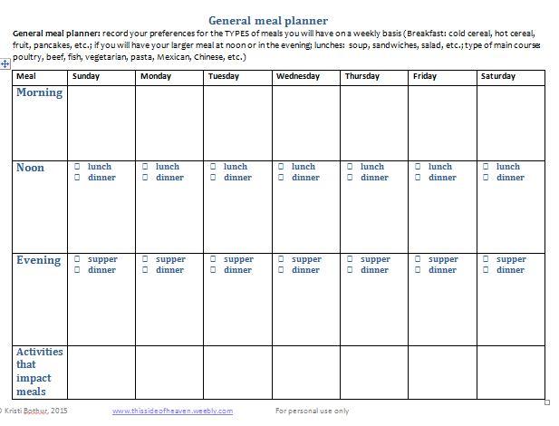 General meal planner
