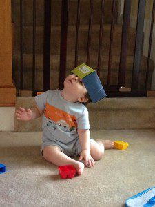 Why would I play with these blocks when I can put a shoe box on my head?