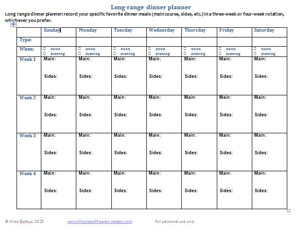 long range meal planner