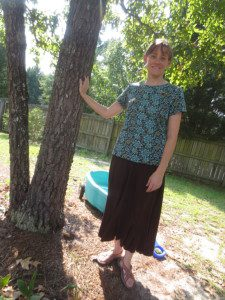 Brown skirt, brown and teal shirt