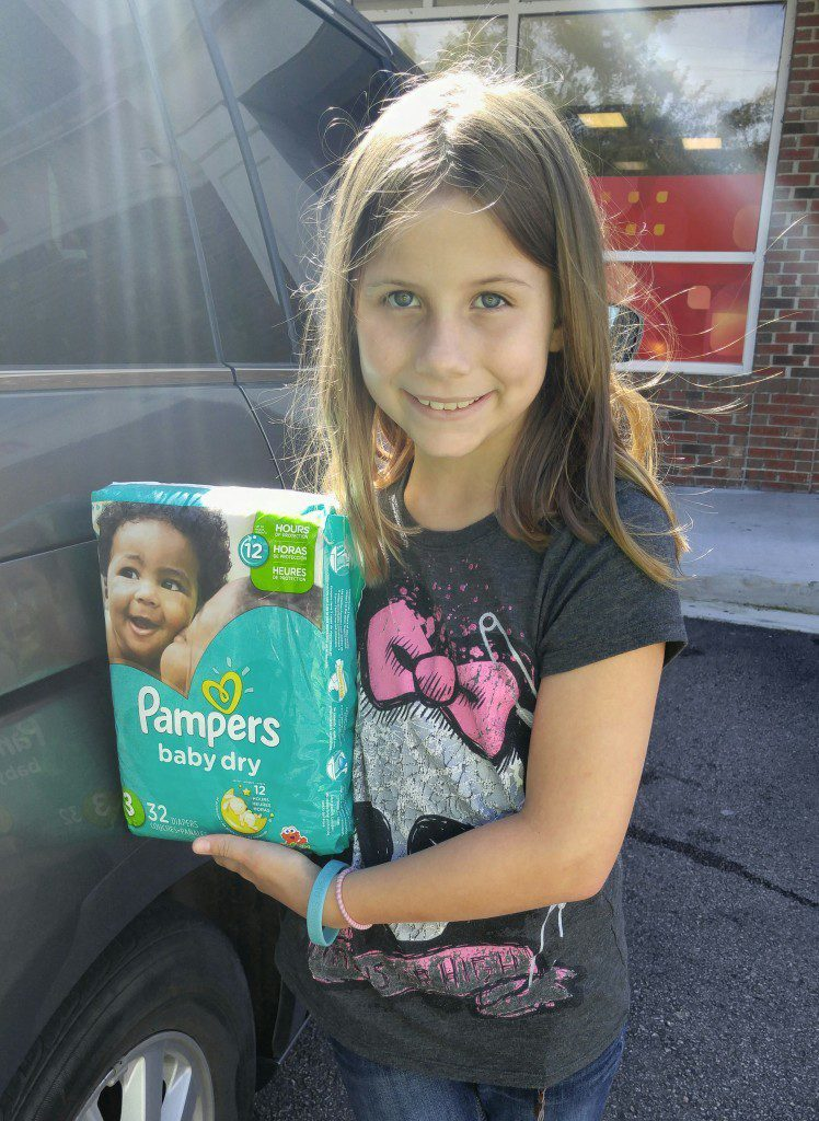 My daughter and I bought some diapers and wipes for a local shelter. We also donated some clothes, magazines, and toys.