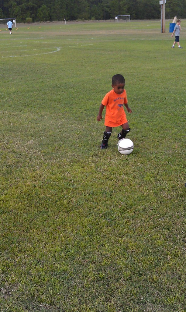 Andrew's first soccer practice with Columbia United FC. (2011)