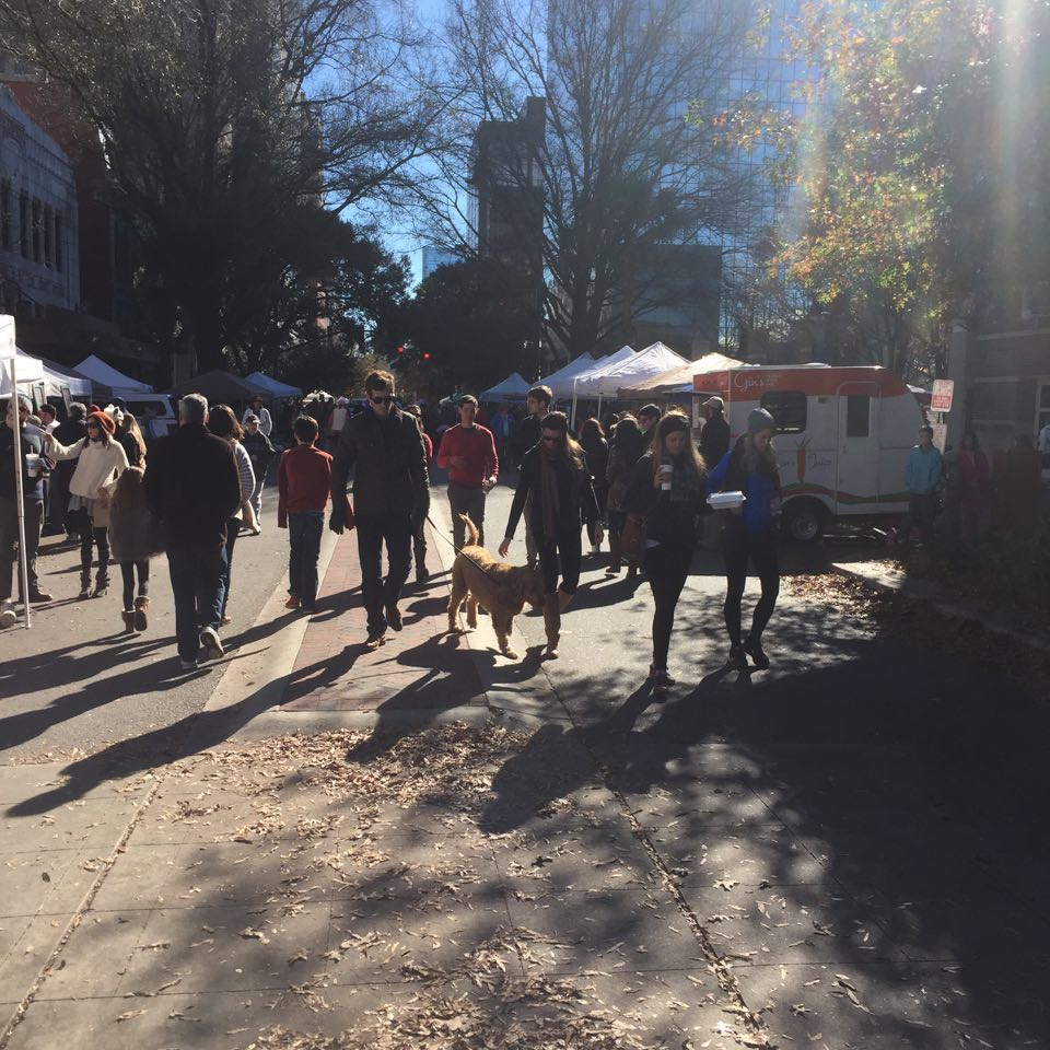 Soda City is a popular farmers market open every Saturday on Main Street in downtown Columbia.