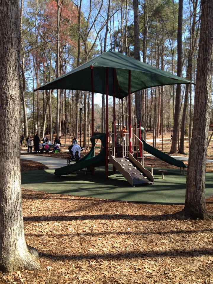 Irmo Community Park offers shaded play areas, walking trails, a play house, pond and more!