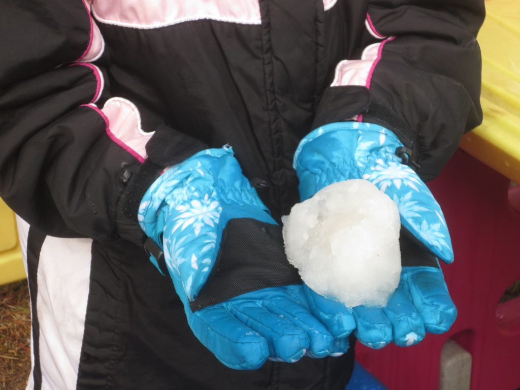 We were able to scrape together enough for a snow ball!
