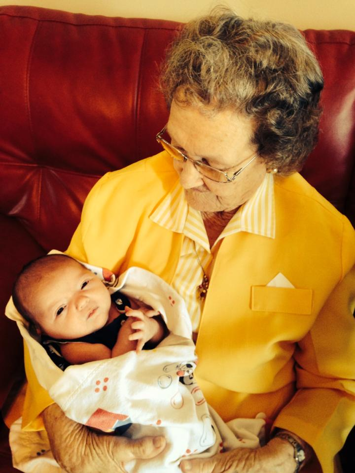 My rainbow baby, Heidi with her great great grandmother.