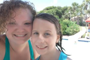 My 10 year old and I having fun on the slides at the resort!